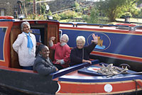A group aboard our narrowboats